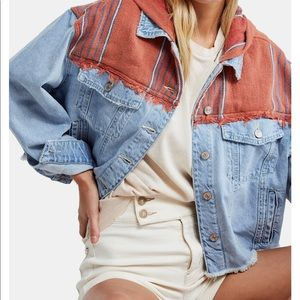 Free people baja mixed media hooded jacket